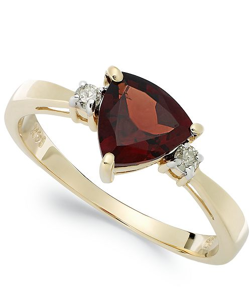 Macy's 14k Gold Garnet (1-1/3 ct. t.w.) and Diamond Accent Ring