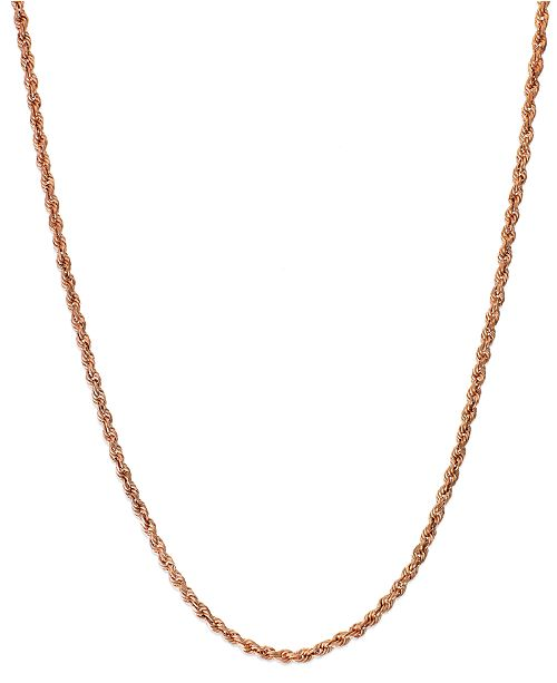 "Italian Gold Rope Chain 24"" Necklace (1-3/4mm) in 14k Rose Gold"