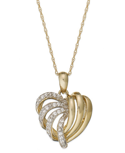 Wrapped in love 14k gold diamond heart pendant necklace 16 ct wrapped in love 14k gold diamond heart pendant necklace 16 ct mozeypictures Gallery