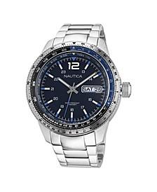 Men's Analog Silver-Tone Stainless Steel Bracelet Watch 46 mm