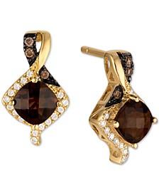 Chocolate Quartz (7/8 ct. t.w.) & Diamond (1/8 ct. t.w.) Drop Earrings in 14k Gold