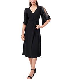 V-Neck Beaded-Sleeve Midi Dress