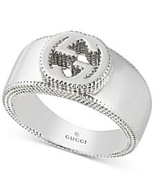 Sterling Silver Interlocking Logo Ring