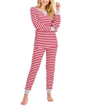 Striped Waffle-Knit Pajamas Set