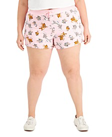 Trendy Plus Size Tom & Jerry Dolphin-Hem Shorts