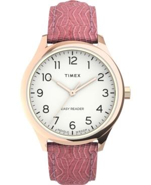 TIMEX WOMEN'S EASY READER GEN 1 PINK LEATHER STRAP WATCH 32MM