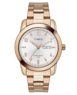 TIMEX TRADITIONAL MEN'S ROSE GOLD-TONE BRASS BRACELET WATCH 39MM