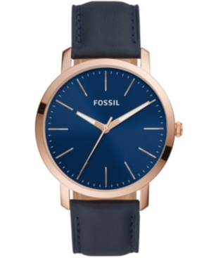 FOSSIL MEN'S LUTHER THREE HAND, BLUE LEATHER STRAP WATCH 44MM