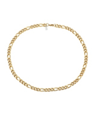 Gold Tone Stainless Steel 8.5mm Figaro Chain Necklace