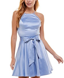 Juniors' Lace-Back Belted Party Dress