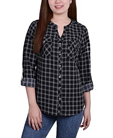 Women's 3/4 Roll Tab Sleeve Mandarin Collar Blouse