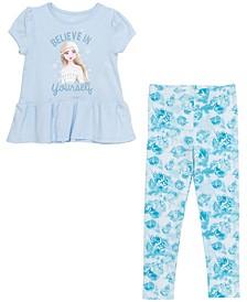 Little Girls Elsa 2 Piece Short Sleeve Leggings Set