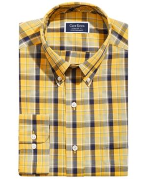 Men's Classic/Regular-Fit Wrinkle-Resistant Stretch Plaid Dress Shirt