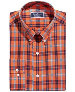 Men's Classic/Regular-Fit Wrinkle-Resistant Performance Stretch Plaid Dress Shirt