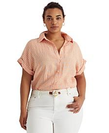 Plus-Size Gingham Linen Dolman-Sleeve Shirt