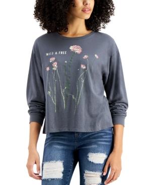 Juniors' Wildflower Long-Sleeve T-Shirt