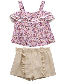 Little Girls Ditzy Floral Crinkle Crepe Top and Venice Trim to Ruffle Front Shorts Set, 2 Piece
