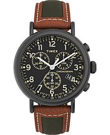 Men's Standard Brown Leather Strap Watch 41mm