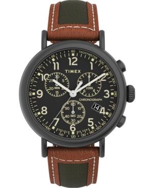 TIMEX MEN'S STANDARD BROWN LEATHER STRAP WATCH 41MM