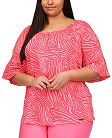 Plus Size Zebra Print Flare Sleeve Top