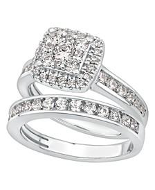 Diamond Halo Bridal Set (1 1/2 ct. t.w.) in 14k White Gold