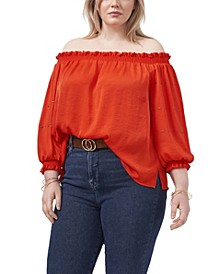 Plus Size Off Shoulder Embroidered Blouse