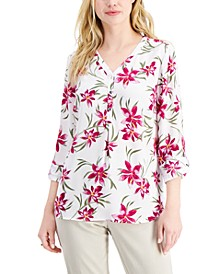 Petite Floral-Print Y-Neck Top, Created for Macy's