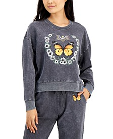 Juniors' Cropped Butterfly Graphic Sweatshirt