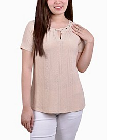 Petite Short Sleeve Knit Eyelet Pullover with Grommets