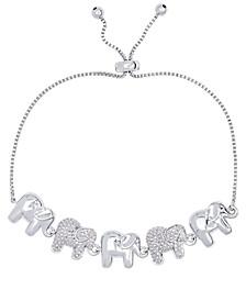 Diamond Accent Elephant Adjustable Bolo Bracelet in Fine Silver Plate
