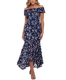 3D-Floral Off-The-Shoulder Gown