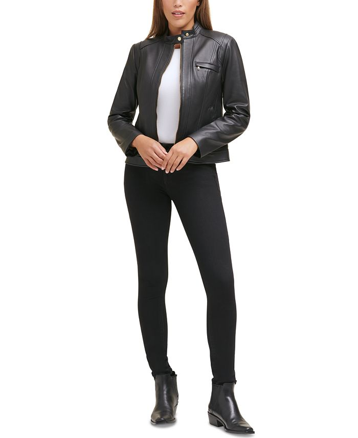 Cole Haan - Stand-Collar Leather Moto Jacket