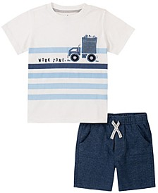Toddler Boys 2-Piece Chest Pocket Short Sleeve T-shirt and French Terry Shorts Set