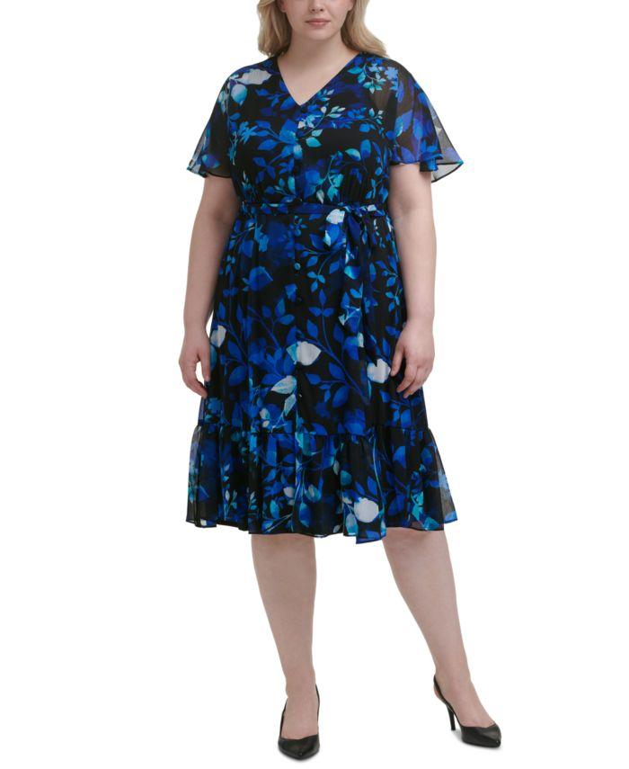 Calvin Klein Plus Size Floral-Print Midi Dress   & Reviews - Dresses - Plus Sizes - Macy's