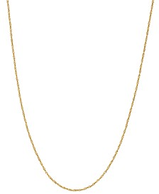 """18K  Gold over Sterling Silver Necklace, 30"""" Diamond-Cut Singapore Chain"""