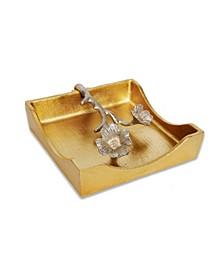 """7""""D Gold Square Napkin Holder With Silver Leaf Design"""