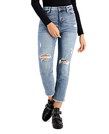 Juniors' Distressed High-Rise Cropped Slim Straight Jeans
