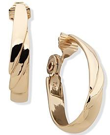 Gold-Tone Tiered Clip-On Hoop Earrings
