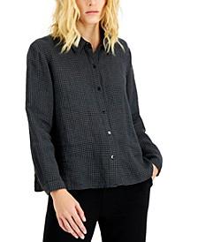 Checked Organic Linen Shirt, Regular & Plus Size