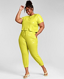 Trendy Plus Size Sequin Joggers, Created for Macy's