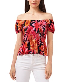 Tropical-Print Smocked Top, Created for Macy's