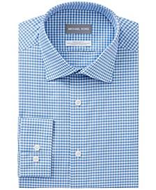 Men's Classic/Regular-Fit Non-Iron Airsoft Performance Stretch Check Dress Shirt