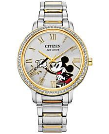 Women's Mickey Mouse Two-Tone Stainless Steel Bracelet Watch 33mm