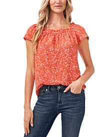 Floral Ruffled Square Neck Blouse
