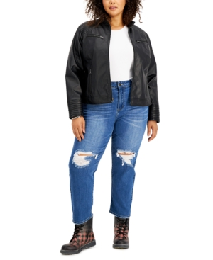 Trendy Plus Size Faux-Leather Jacket