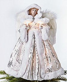 Lighted Angel Tree Topper in Silver Dress, Created for Macy's