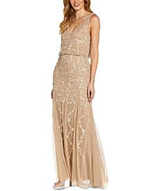 Embellished Cowl-Back Gown