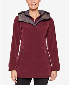 Colorblocked Hooded A-Line Raincoat