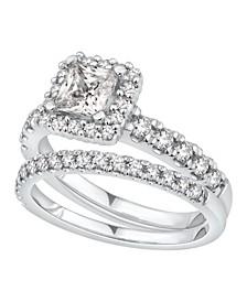 GIA Certified Diamond Princess Halo Bridal Set (1 1/2 ct. t.w.) in 14K White Gold