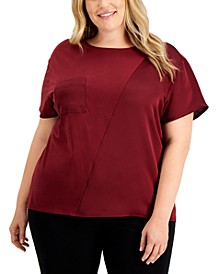Plus Size Mixed-Media Pocket Top, Created for Macy's